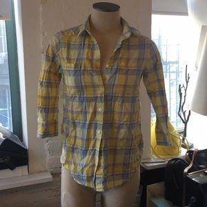 Uniqlo X Suno collab yellow plaid Button Down XS